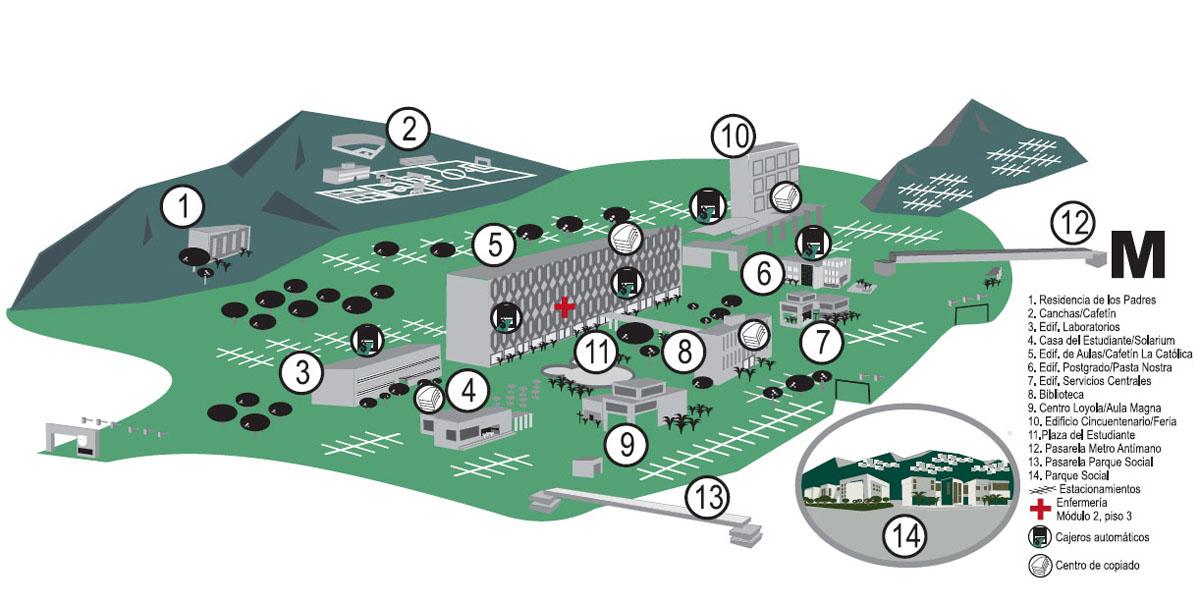 Mapa de la ucab universidad cat lica andr s bello for Cajero automatico cerca de mi ubicacion